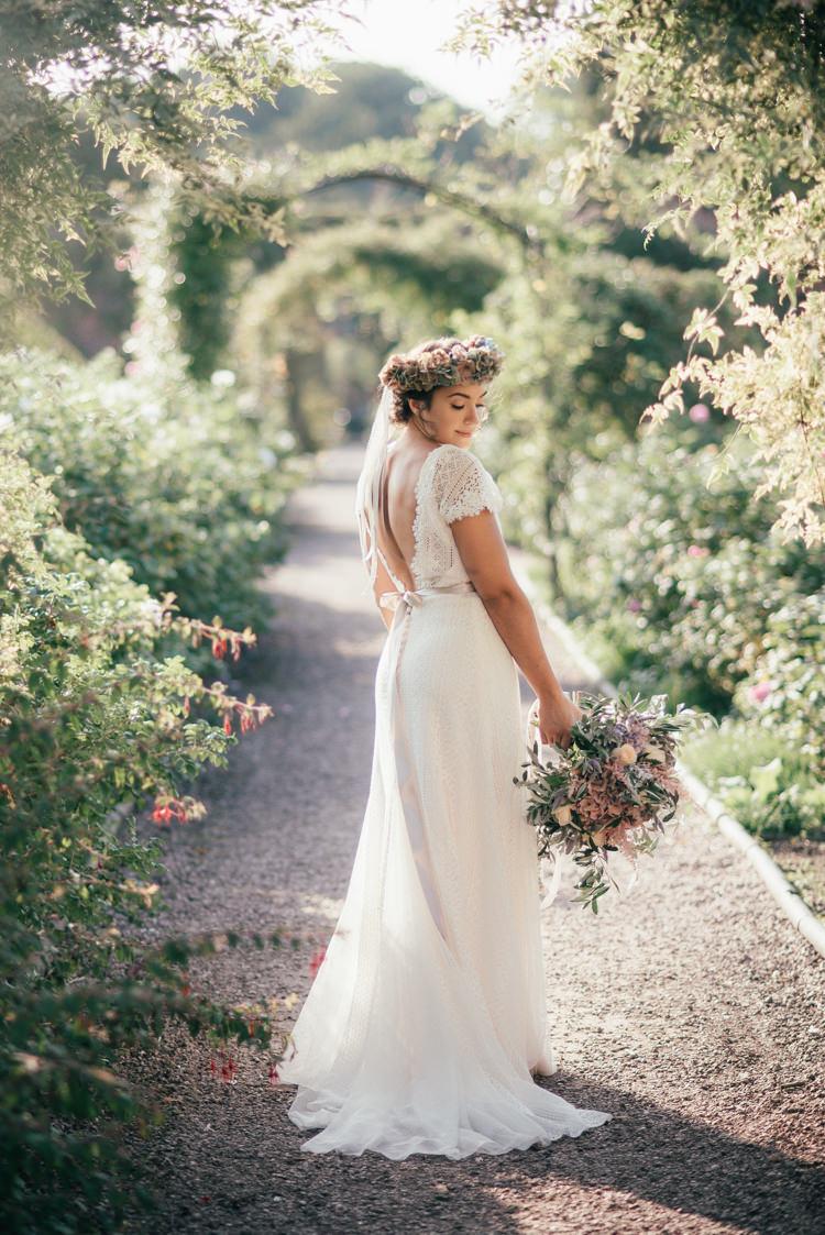 Ribbon Flower Crown Gown Dress Bride Bridal Fine Art Boho Luxe Garden Wedding Ideas http://www.lucygphotography.co.uk/