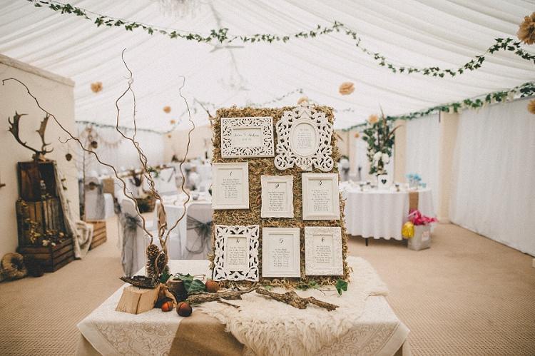 Frame Seating Plan Table Chart Woodland Inspired Autumn Wedding http://www.kerrydiamondphotography.com/