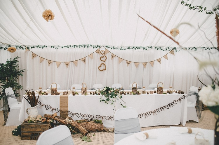 Top Table Decor Bunting Hessian Wooden Woodland Inspired Autumn Wedding http://www.kerrydiamondphotography.com/
