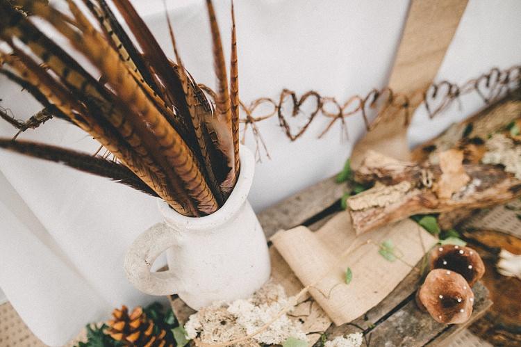 Feather Jug Decor Woodland Inspired Autumn Wedding http://www.kerrydiamondphotography.com/