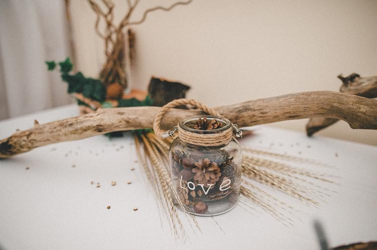 Pine Cone Jar Decor Woodland Inspired Autumn Wedding http://www.kerrydiamondphotography.com/