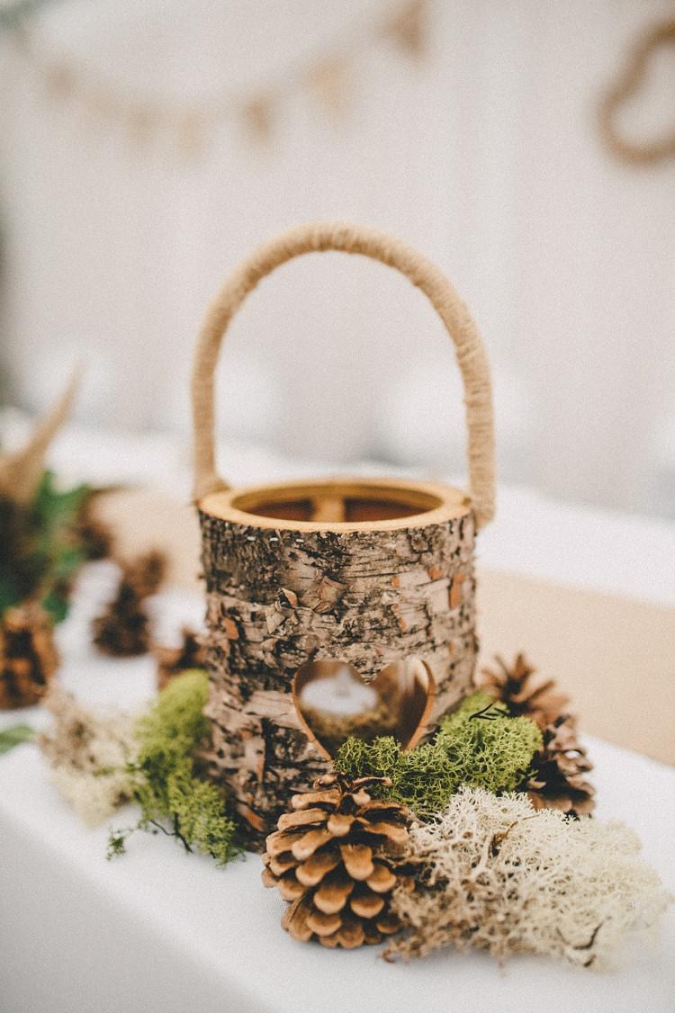 Bark Wooden Candle Holder Woodland Inspired Autumn Wedding http://www.kerrydiamondphotography.com/
