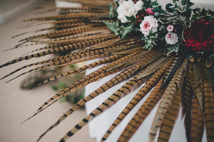 Feathers Decor Woodland Inspired Autumn Wedding http://www.kerrydiamondphotography.com/