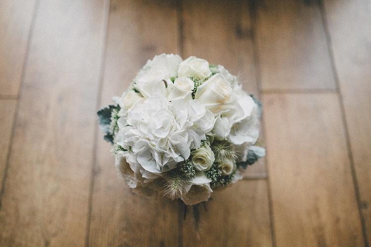 White Hydrangea Rose Bouquet Flowers Bride Bridal Woodland Inspired Autumn Wedding http://www.kerrydiamondphotography.com/