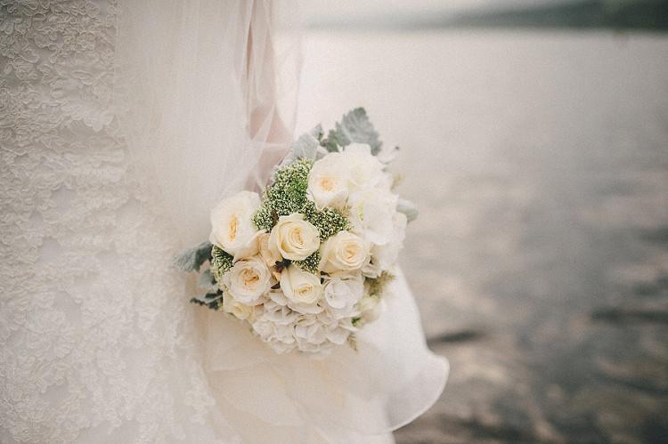 White Bouquet Flowers Bride Bridal Hydrangea Roses Woodland Inspired Autumn Wedding http://www.kerrydiamondphotography.com/