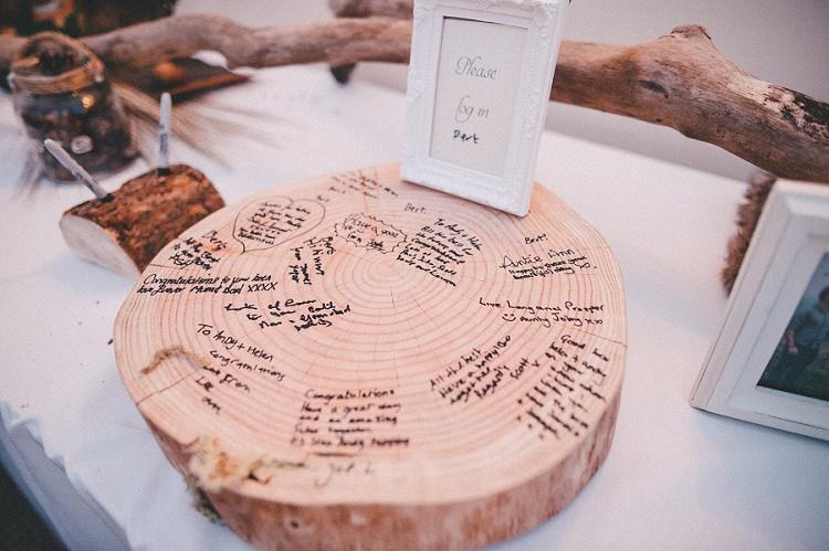 Log Slice Guest Book Woodland Inspired Autumn Wedding http://www.kerrydiamondphotography.com/