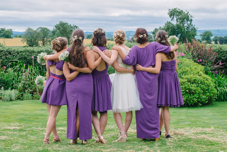 Mismatched Purple Bridesmaid Dresses Big Top Farm Party Wedding http://www.robinstudios.com/