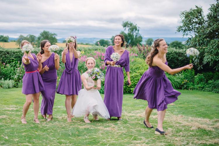 Mismatched Bridesmaid Dresses Purple Big Top Farm Party Wedding http://www.robinstudios.com/