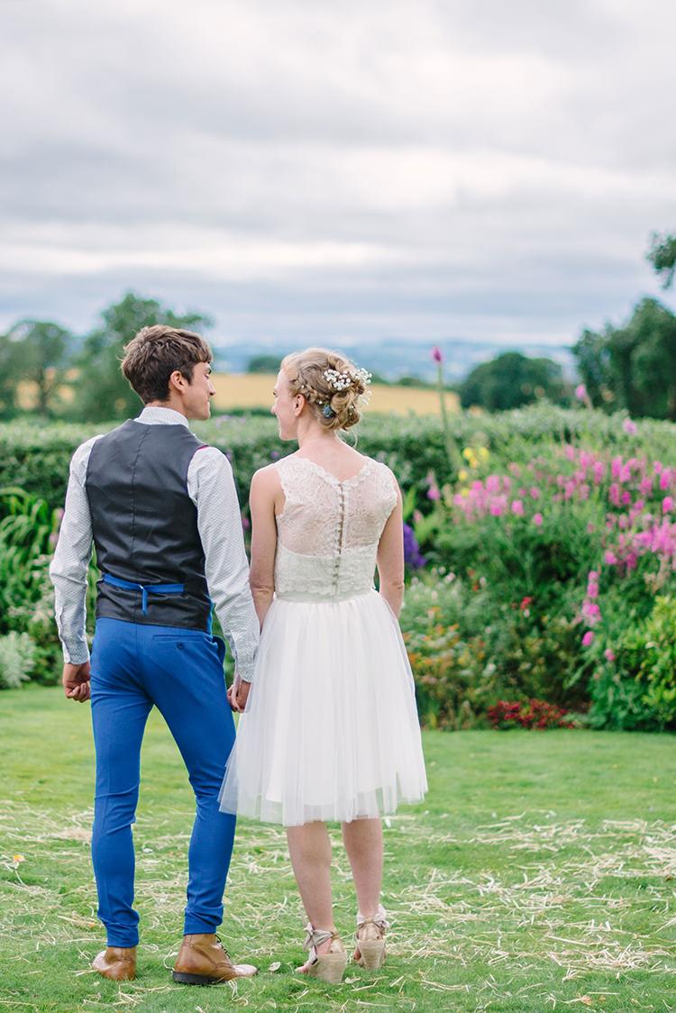 Short Wedding Dress Bride Bridal Lace Buttons Big Top Farm Party Wedding http://www.robinstudios.com/