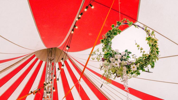 Circus Tent Festoon Lights Floral Hoop Big Top Farm Party Wedding http://www.robinstudios.com/