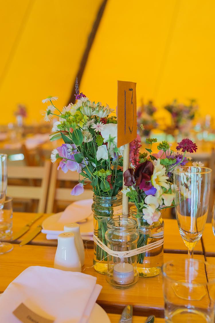 Jar Flowers DIY Decor Tables Centrepiece Fun & Games Tipi Wedding http://jamesandlianne.com/