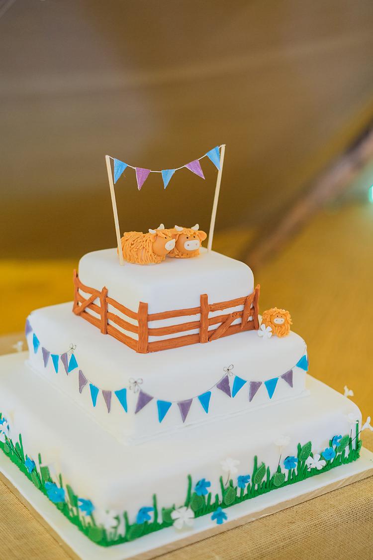 Farm Cow Cake Bunting Topper Fun & Games Tipi Wedding http://jamesandlianne.com/