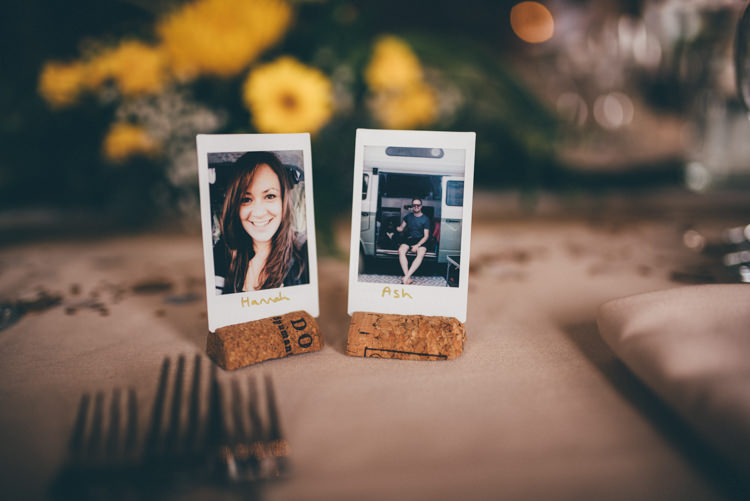Cork Polariod Place Names Outdoorsy Rustic Sunflowers Wedding http://www.helenjanesmiddy.com/