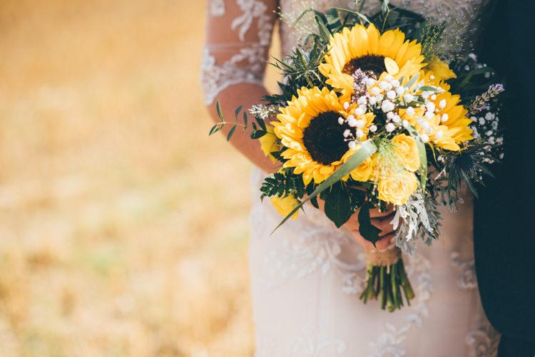 Bouquet Flowers Bride Bridal Summer Outdoorsy Rustic Sunflowers Wedding http://www.helenjanesmiddy.com/