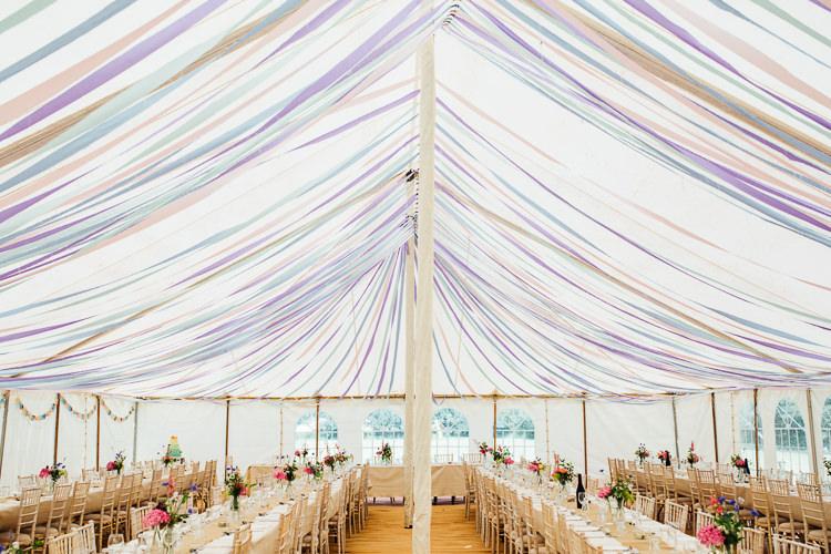 Ribbon Decor Decoration Ceiling Floral Marquee Summer Wedding http://matildadelvesweddingphotography.com/