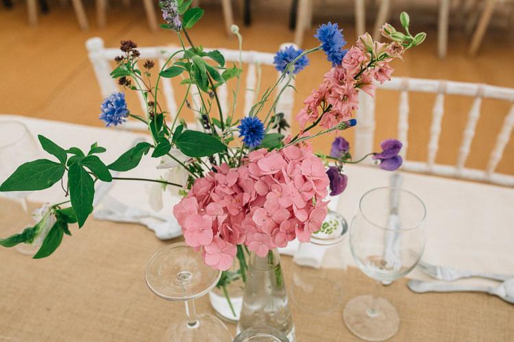 Pink Blue Flowers Table Decor Decoration Floral Marquee Summer Wedding http://matildadelvesweddingphotography.com/