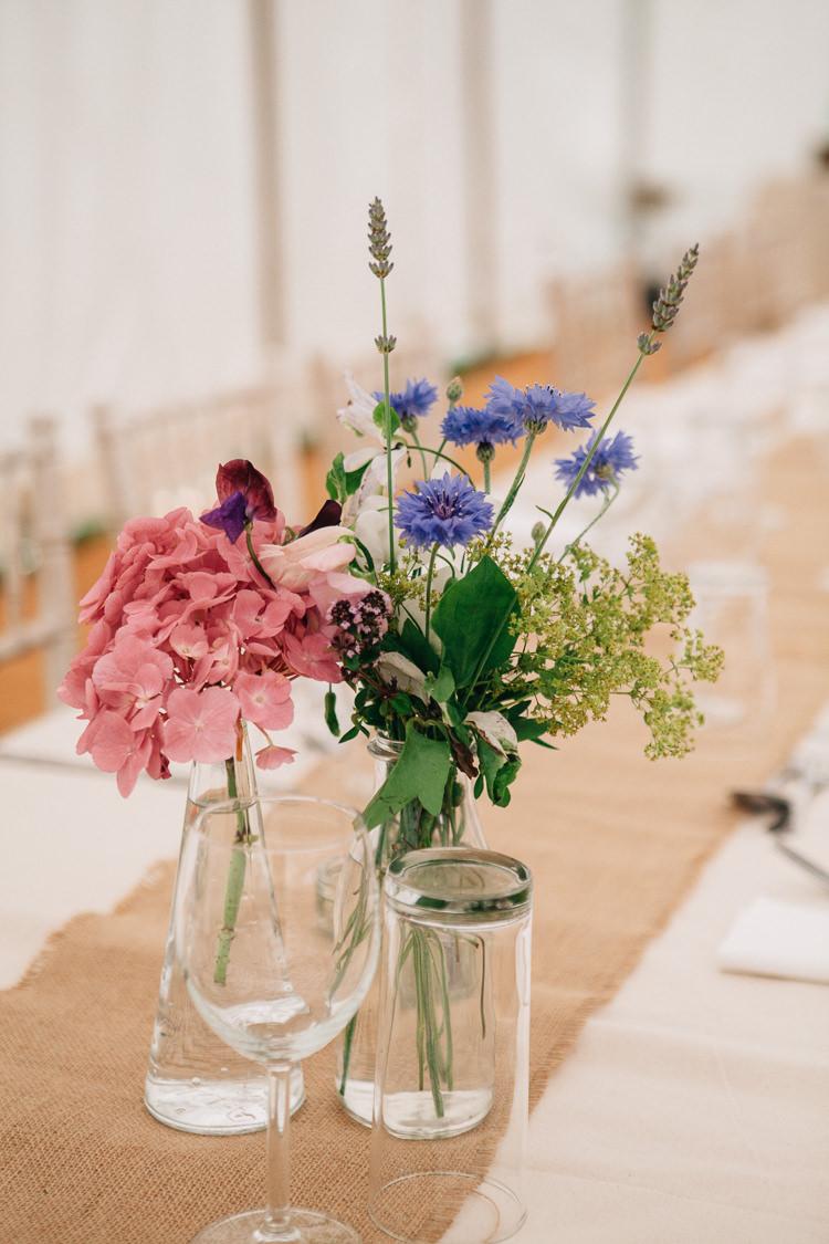 Vase Flowers Pink Blue Floral Marquee Summer Wedding http://matildadelvesweddingphotography.com/