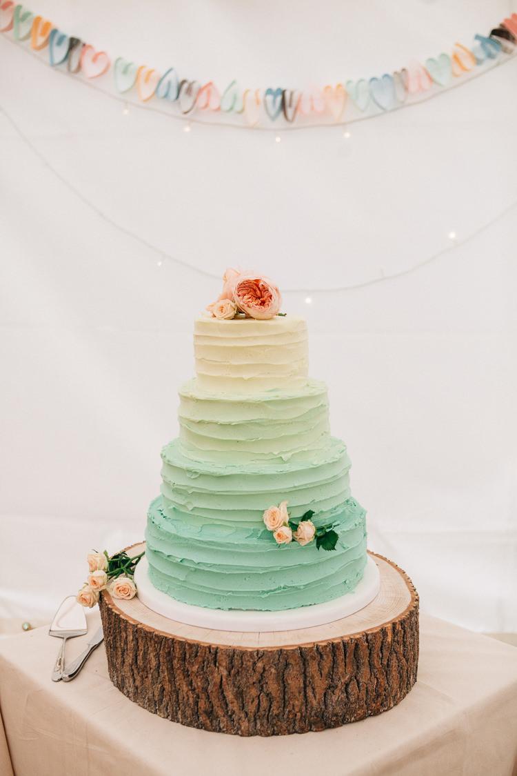 Pastel Ombre Buttercream Cake Mint Log Floral Marquee Summer Wedding http://matildadelvesweddingphotography.com/