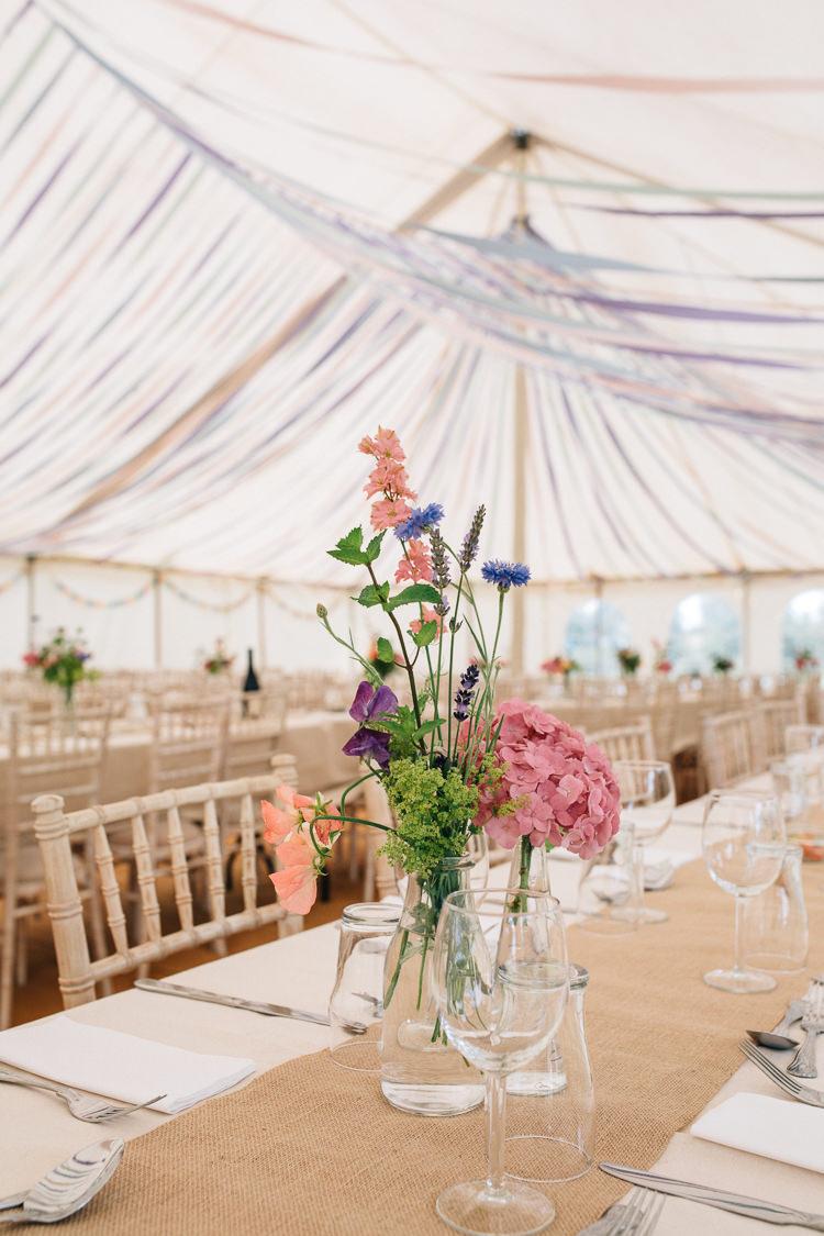Pastel Flowers Vase Hessian Table Decor Ribbons Floral Marquee Summer Wedding http://matildadelvesweddingphotography.com/