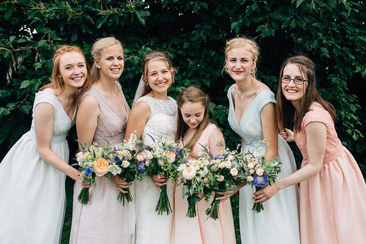 Pastel Bridesmaid Dresses Flowers Bouquets Floral Marquee Summer Wedding http://matildadelvesweddingphotography.com/