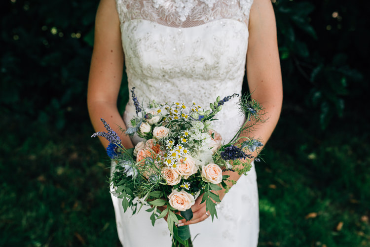 Bouquet Flowers Wild Natural Peach Rose Daisy Lavender Bride Bridal Floral Marquee Summer Wedding http://matildadelvesweddingphotography.com/