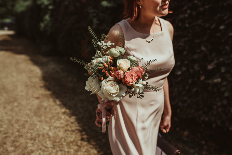 Bridesmaid Bouquet Peach Rose Cream Flowers Beautiful Stylish Country Marquee Wedding http://jesssoperphotography.com/