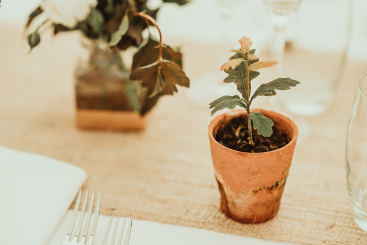 Oak Tree Seedling Potted Favours Beautiful Stylish Country Marquee Wedding http://jesssoperphotography.com/