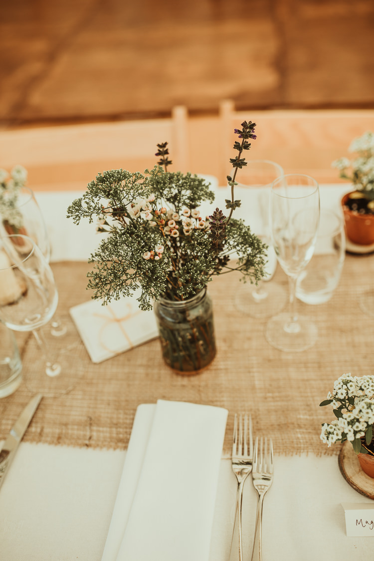 Wax Flower Jars Decor Table Beautiful Stylish Country Marquee Wedding http://jesssoperphotography.com/