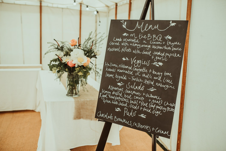 Sign Black Chalk Board Menu Beautiful Stylish Country Marquee Wedding http://jesssoperphotography.com/