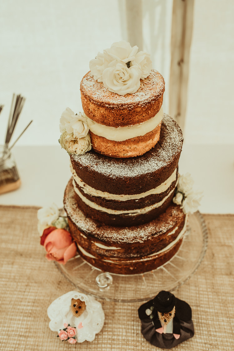 Naked Cake Sponge Victoria Layer Flowers Cream Beautiful Stylish Country Marquee Wedding http://jesssoperphotography.com/