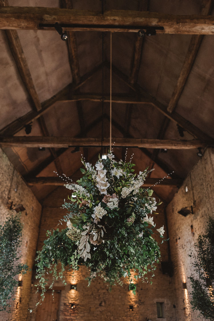 Hanging Flowers Barn Chandelier Whimsical Floral Blush Grey Wedding https://www.scuffinsphotography.com/