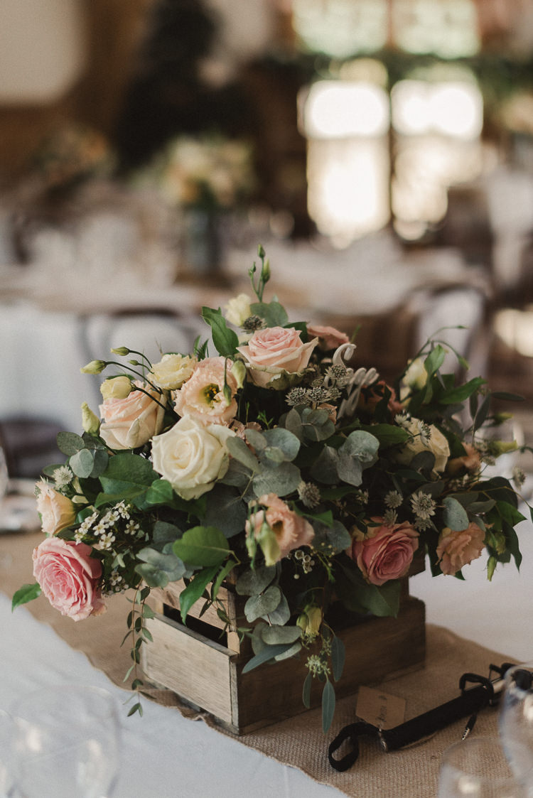 Flowers Crate Box Table Centrepiece Decor Peach Roses Whimsical Floral Blush Grey Wedding https://www.scuffinsphotography.com/