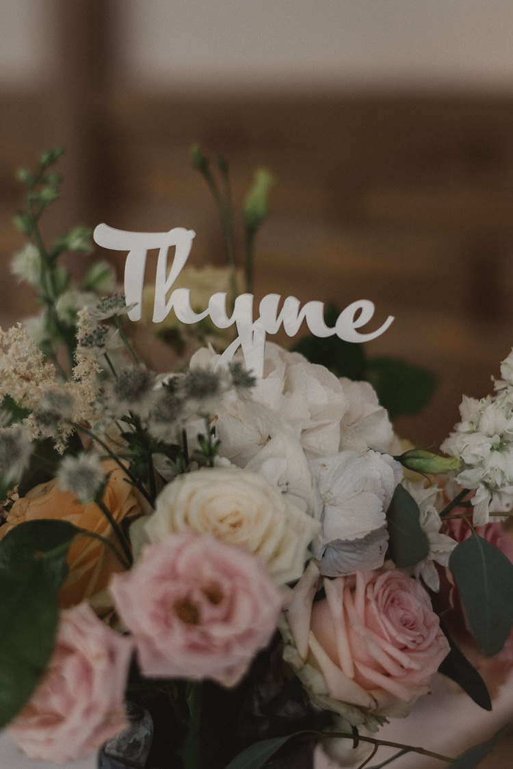Herb Table Name Sign Flowers Whimsical Floral Blush Grey Wedding https://www.scuffinsphotography.com/