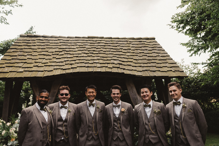 Suits Bow Ties Groom Groomsmen Whimsical Floral Blush Grey Wedding https://www.scuffinsphotography.com/
