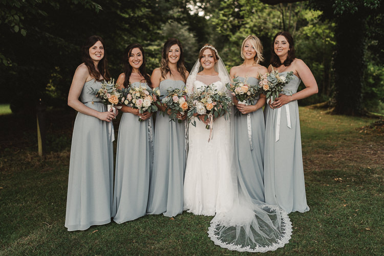 Whimsical floral blush grey wedding whimsical wonderland weddings long green bridesmaid dresses bouquets flowers ribbons whimsical floral blush grey wedding https mightylinksfo