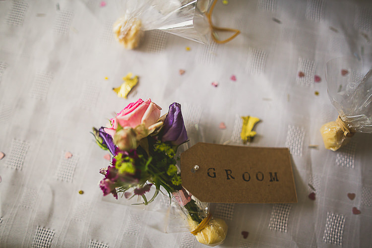 Pink Purple Buttonhole Groom Rose Colourful Midsummer Night's Dream Party Wedding http://thespringles.com/
