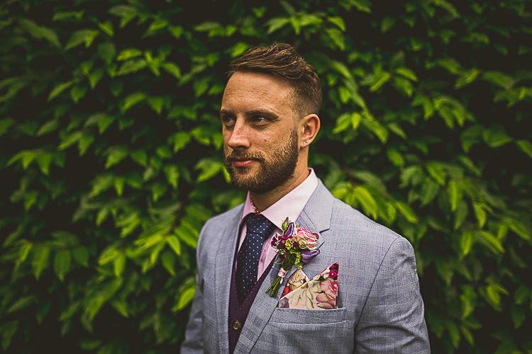 Grey Jacket Pink Shirt Polka Dot Tie Groom Colourful Midsummer Night's Dream Party Wedding http://thespringles.com/