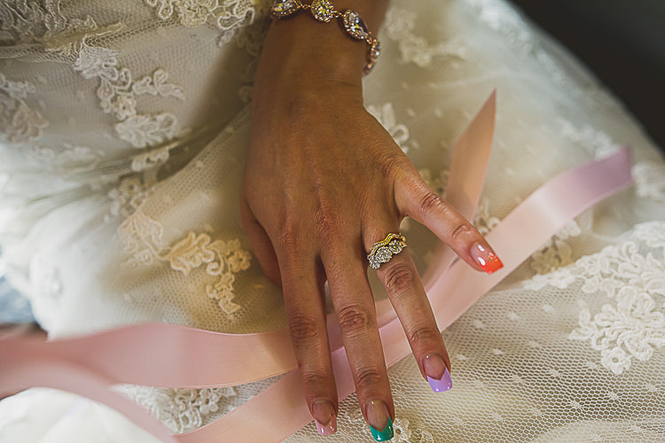 Nails Bride Bridal Ring Engagement Band Colourful Midsummer Night's Dream Party Wedding http://thespringles.com/