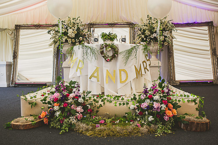 Top Table Sweetheart Foliage Greenery Mirrors Balloons Colourful Midsummer Night's Dream Party Wedding http://thespringles.com/