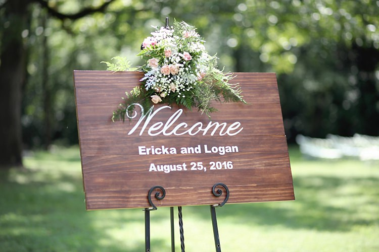 Outdoor Ceremony Personalised Wooden Sign Pink White Roses Baby's Breath Florals Metal Stand Soft Romantic Woodland Wedding Tennessee http://www.jessicaleephotographicart.com/