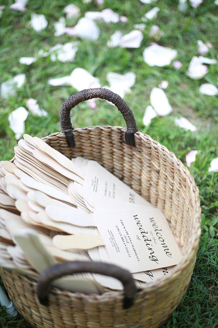 Ceremony Program Fans DIY Wicker Basket Flower Petals Grass Soft Romantic Woodland Wedding Tennessee http://www.jessicaleephotographicart.com/