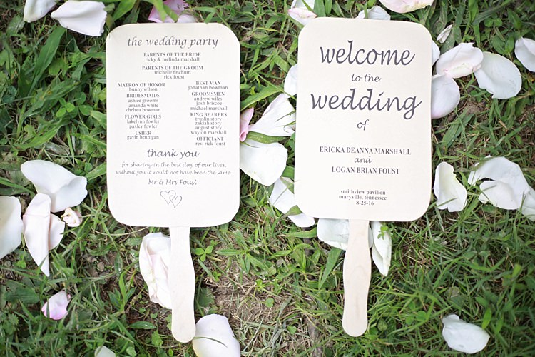Ceremony Program Fans DIY Flower Petals Grass Soft Romantic Woodland Wedding Tennessee http://www.jessicaleephotographicart.com/