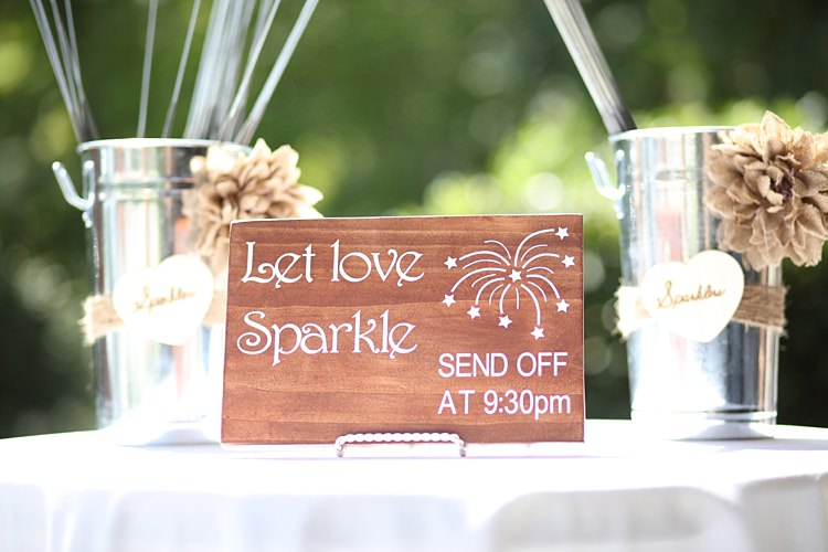 Personalised Wooden Sign Sparklers Metal Containers Beige Flowers Soft Romantic Woodland Wedding Tennessee http://www.jessicaleephotographicart.com/