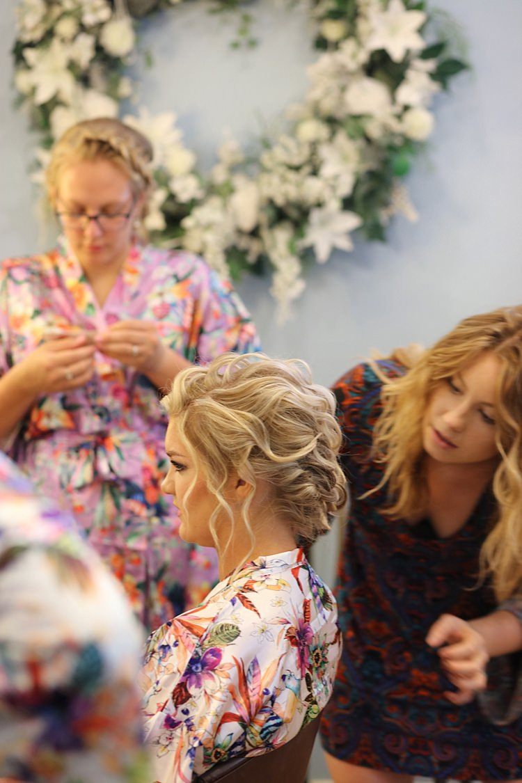 Bride Floral Robe Soft Hairstyle Smokey Eye Makeup Getting Ready Soft Romantic Woodland Wedding Tennessee http://www.jessicaleephotographicart.com/