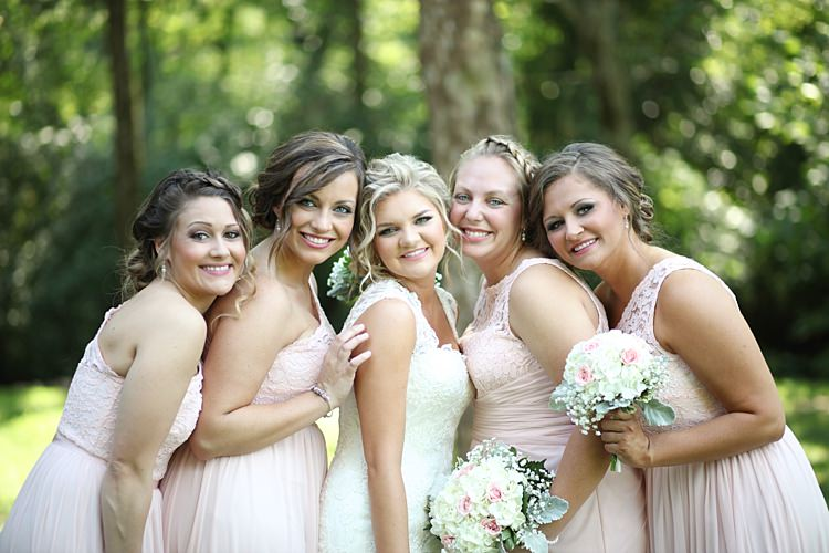 Bride Lace Mermaid Bridal Gown With Straps Soft Hairstyle Bridesmaids Pale Pink Lace Chiffon Dresses Bouquets White Hydrangea Pink Roses Baby's Breath Trees Grass Soft Romantic Woodland Wedding Tennessee http://www.jessicaleephotographicart.com/