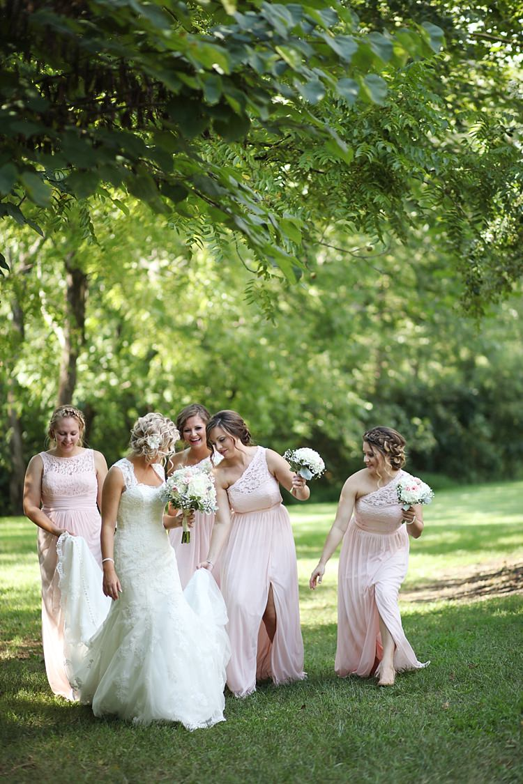 Bride Lace Mermaid Bridal Gown With Straps Soft Hairstyle Floral Hairpiece Bridesmaids Pale Pink Lace Chiffon Dresses Bouquets White Hydrangea Pink Roses Baby's Breath Trees Grass Soft Romantic Woodland Wedding Tennessee http://www.jessicaleephotographicart.com/