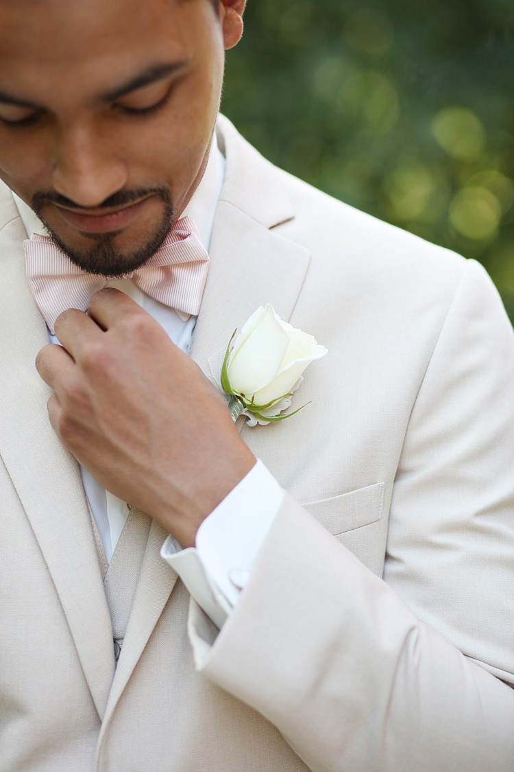 Groom Beige Suit White Shirt Pale Pink Bow Tie White Rose Buttonhole Style Soft Romantic Woodland Wedding Tennessee http://www.jessicaleephotographicart.com/