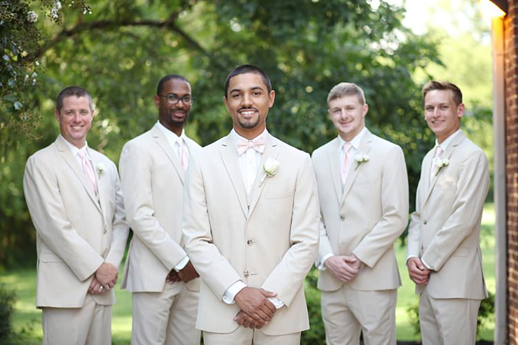 Groom Groomsmen Beige Suits White Shirts Pale Pink Tie Rose Buttonhole Trees Soft Romantic Woodland Wedding Tennessee http://www.jessicaleephotographicart.com/