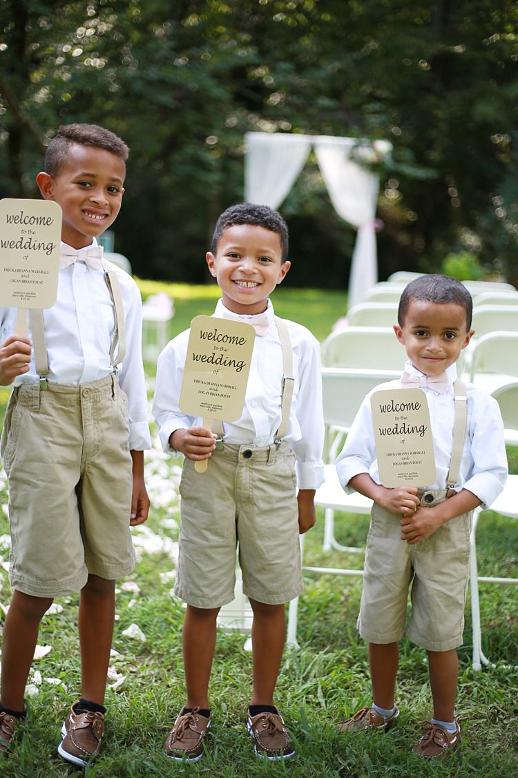 Page Boys White Shirts Beige Shorts Pale Pink Bow Ties Tan Leather Shoes Ceremony Program Fans White Curtains Chairs Trees Grass Soft Romantic Woodland Wedding Tennessee http://www.jessicaleephotographicart.com/