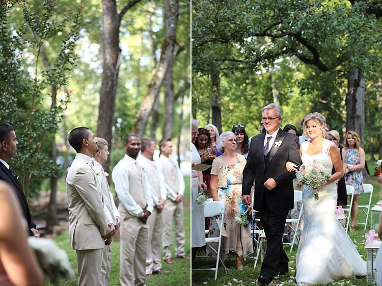 Outdoor Ceremony Groom Beige Suit White Shirt Pale Pink Bow Tie Groomsmen Bride Lace Mermaid Bridal Gown With Straps Bouquet White Hydrangeas Pink Roses Baby's Breath Father Soft Romantic Woodland Wedding Tennessee http://www.jessicaleephotographicart.com/